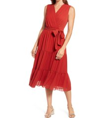 women's maggy london stripe faux wrap sleeveless midi dress