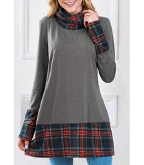 long sleeve plaid insert sweatshirt