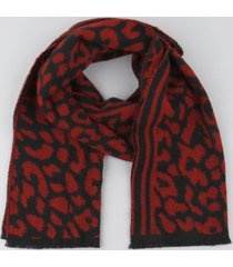 cachecol feminino em tricô estampado animal print vermelho