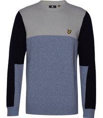 colourblock crew sweat-shirt tröja blå lyle & scott