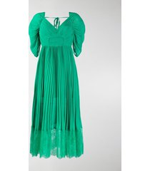 self-portrait pleated lace-trimmed dress