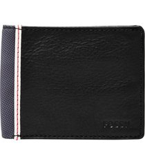 men's fossil elgin leather id wallet - black