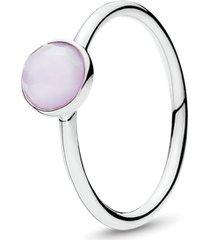 anel gota de cristal rosa opalescente - outubro