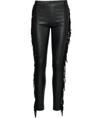 leggings w/fringes leather leggings/broek zwart depeche