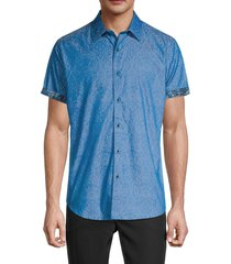 robert graham men's classic-fit short-sleeve shirt - cadet blue - size xxl