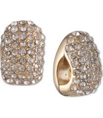anne klein gold-tone crystal magnetic earrings