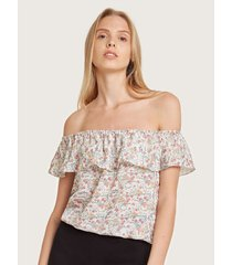 blusa floral hombros descubiertos