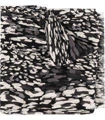 saint laurent pleated leopard print scarf - black