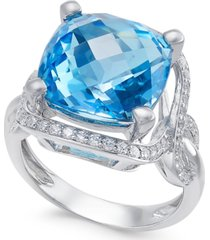 blue topaz (8 ct. t.w.) and diamond (3/8 ct. t.w.) ring in 14k white gold