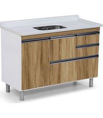 gabinete para cozinha 120cm mdp 15mm coliseu nogal sevilha 118,7x69,5x49,5cm - rorato - rorato
