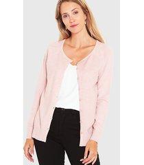 cardigan wados m/l solid con botones rosa - calce regular