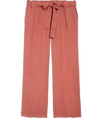 plus size women's caslon new belted linen pants, size 3x - pink