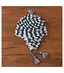 alpaca blend chullo hat, 'festive pattern' (peru)