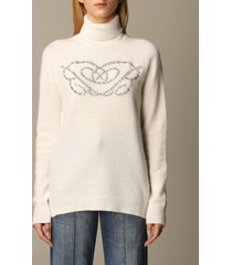 blumarine sweater cashmere and silk rhinestone logo turtleneck