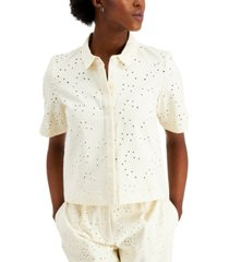alfani petite cotton eyelet top, created for macy's
