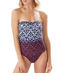 tommy bahama women's ikat-print strapless one-piece swimsuit - mare navy - size 16