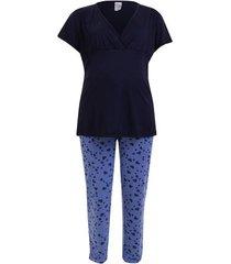 pijama amamentação plus size manga curta luna cuore  marinho g1