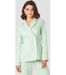 queen of jetlags x na-kd linen mix casual blazer - green