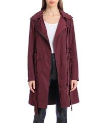 women's avec les filles water resistant moto detail trench coat, size large - burgundy