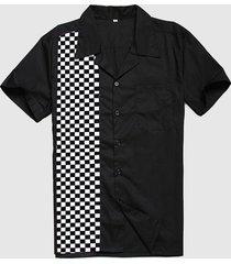 camicie da bowling personalizzate da uomo camicia casual nera in cotone rockabilly