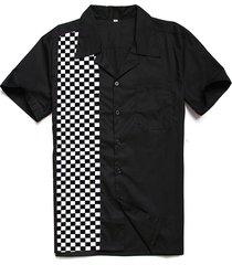camicie da bowling personalizzate uomo camicie casual nera in cotone rockabilly