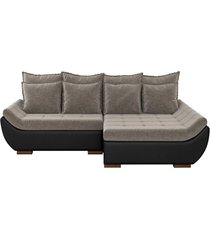 sofá com chaise direita 3 lugares sala de estar 262cm inglês linho marrom/corino preto - gran belo - tricae