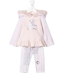 lapin house cable-knit print hooded tracksuit set - pink