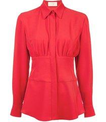 cinched waist shirt red
