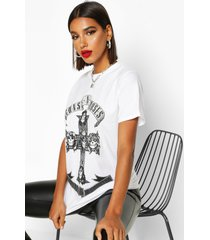 oversized guns n roses licentie-t-shirt, wit