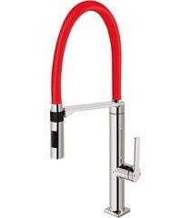misturador monocomando para cozinha de mesa doc vermelho e cromado