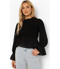 dobby mesh peplum blouse, black