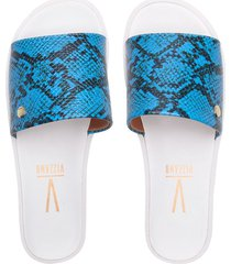 sandalia azul neón/blanco vizzano