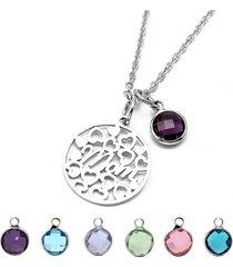 cuore hollow hollow delle donne cuore di mamma di cristallo del pendente di birthstone del regalo di fascino dell'acciaio inossidabile