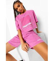 kort acid wash gebleekt pantone t-shirt, gewassen roze