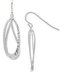 giani bernini textured oval drop earrings in sterling silver, created for macy's