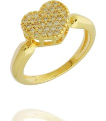 anel dona diva semi joias coração dourado