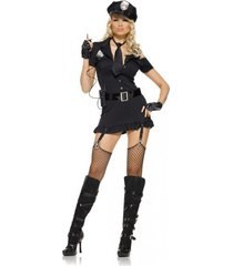 women's dirty sexy cop police officer halloween costume dress set hat gloves tie