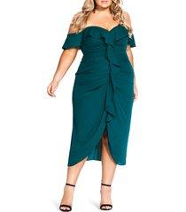 plus size women's city chic va va voom ruched ruffle dress, size large - green