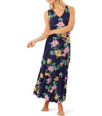 tommy bahama sun lilies sleeveless v-neck tiered sundress, size small in mare navy at nordstrom