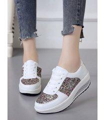 lentejuelas cuñas deportivas zapatillas