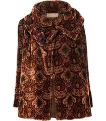 a.n.g.e.l.o. vintage cult 1990s textured patterned coat - brown