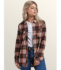 overhemd volcom women's getting rad plaid ls shirt blp
