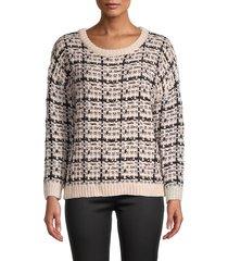 johnny becca women's contrast knitted sweater - beige multi - size l