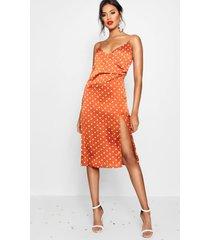 boutique satijnen slipdress in wikkelstijl met polkastippen, gebrand oranje