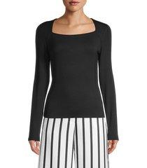 lea & viola women's square-neck top - black - size s