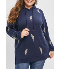 plus size leaf embroidered slit hoodie with pockets