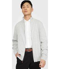 sweater dockers full zipper solid gris - calce slim fit
