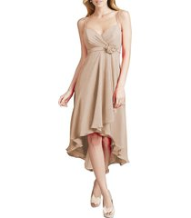 dislax spaghetti straps high low chiffon bridesmaid dresses champagne us 4