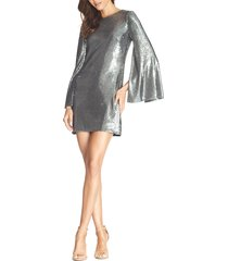 women's dress the population liza long cape sleeve sequin minidress