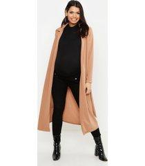 maternity longline duster jacket, camel